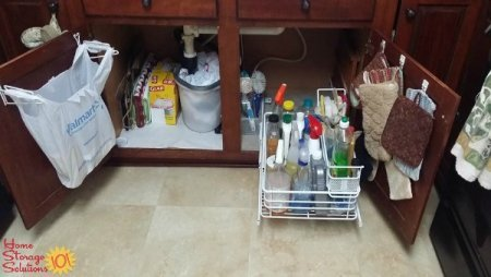 Organized under kitchen sink area shown by a reader, Joan, who took on this #Declutter365 mission on Home Storage Solutions 101
