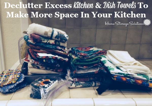Decluttered kitchen towels and dish cloths to create lots more space in your kitchen {featured on Home Storage Solutions 101}