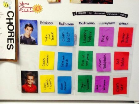 Use plastic collector cards to create chore charts for your kids {featured on Home Storage Solutions 101}
