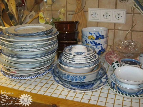 Dishes decluttered as part of the #Declutter365 missions on Home Storage Solutions 101