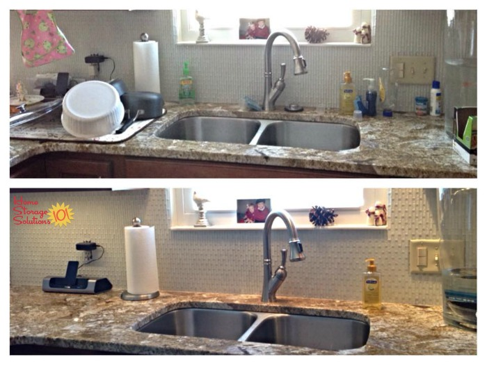 How to declutter the area around your kitchen sink of unnecessary items {on Home Storage Solutions 101} #Declutter365