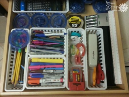 Kitchen junk drawer organized by a reader, Jinny, as part of the Declutter 365 missions on Home Storage Solutions 101