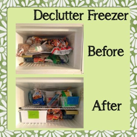 Before and after of the the #Declutter365 declutter freezer mission, from Brandy {featured on Home Storage Solutions 101}