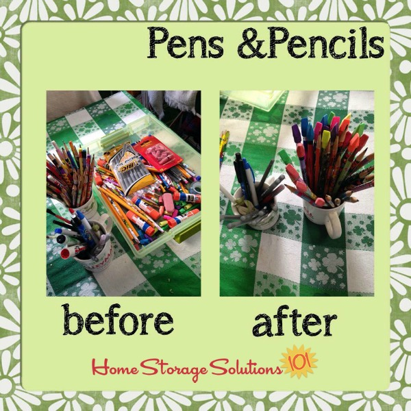 Before and after when a reader, Brandy, did the declutter pens and pencils 15 minute mission as part of the #Declutter365 missions on Home Storage Solutions 101