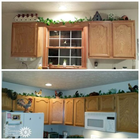 Decorating above kitchen cabinets ideas tips Above kitchen cabinet decorating idea pictures