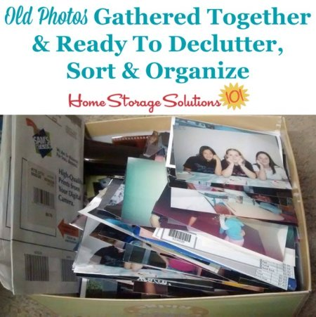 Box of old photos gathered together and ready to declutter, sort and organize {part of the process of organizing photographs, on Home Storage Solutions 101}