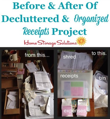 Sally's before and after when she took on a project to declutter and organize receipts in her desk {featured on Home Storage Solutions 101}