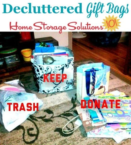Decluttered gift bags, including ones to trash, donate and keep, from a reader Jana, who did the #Declutter365 mission {on Home Storage Solutions 101} #Declutter #Decluttering
