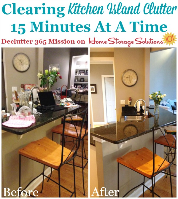 Results of 15 minutes of decluttering of a kitchen island, when Tracy did this #Declutter365 mission on Home Storage Solutions 101.