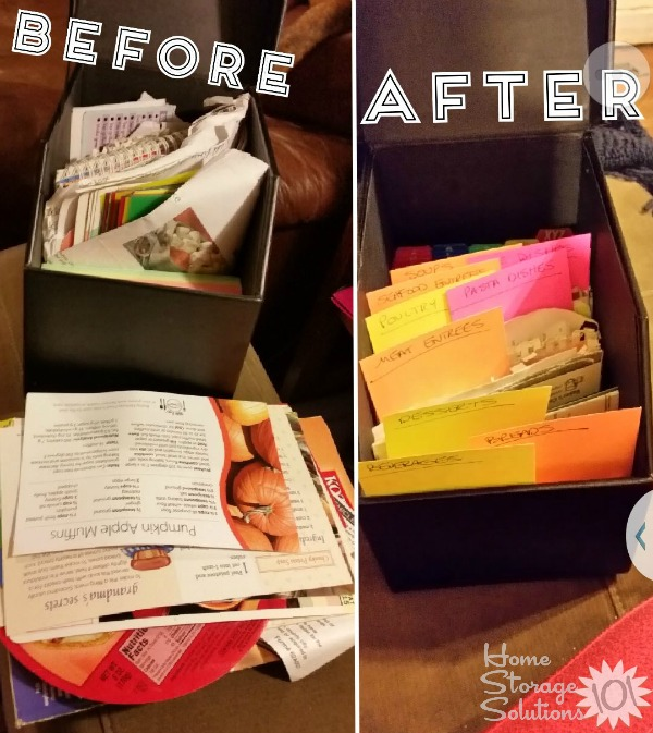 Once Kimberly categorized her recipes it was much easier to declutter and organize them {featured on Home Storage Solutions 101}