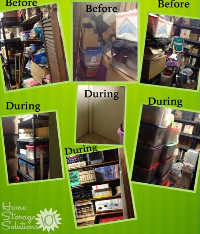 Decluttering process of storage closet {featured on Home Storage Solutions 101}