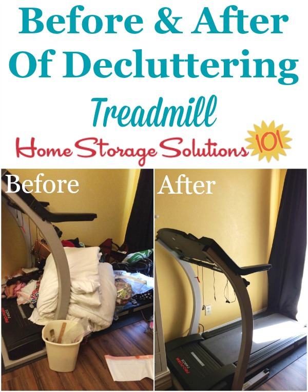 Before and after photos when a reader, Dora, decluttered her treadmill so she could actually use it againfeatured on Home Storage Solutions 101