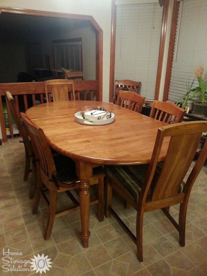 Cleared off kitchen table, shown by Lisa, who did the #Declutter365 mission {featured on Home Storage Solutions 101}