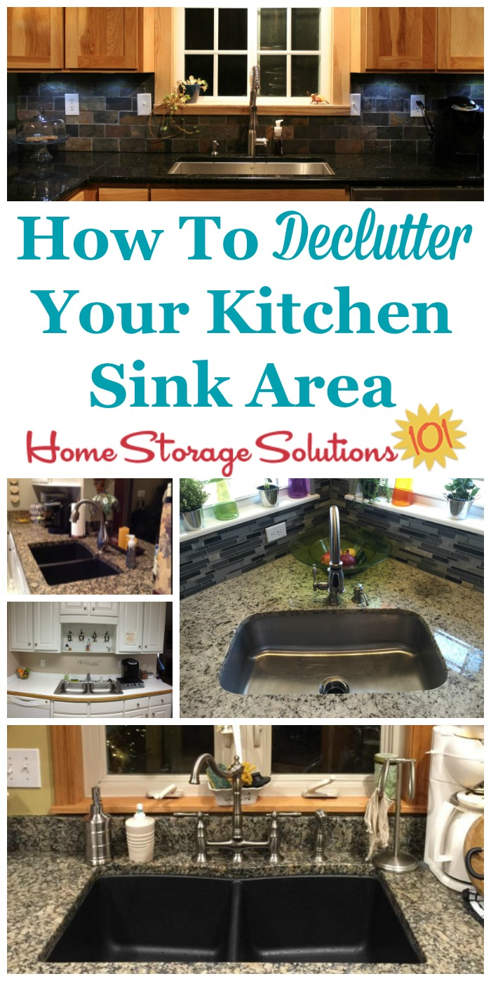 How to #declutter your kitchen sink area of unneeded items, so you can have a calming space to look at, plus a good work space for all sink related tasks in your kitchen {on Home Storage Solutions 101} #Declutter365 #Decluttering