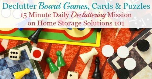 How to declutter games, including board games, card games and puzzles {a #Declutter365 mission on Home Storage Solutions 101}