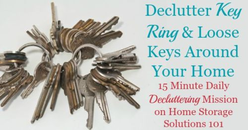 How to declutter key rings and loose keys around your home for this #Declutter365 mission, plus get tips to prevent 'mystery' or unknown keys from being a problem in your home from now on {on #HomeStorageSolutions101}