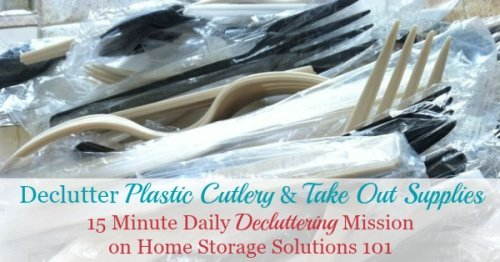 How to #declutter plastic silverware and cutlery, and other take out supplies from napkins, condiment packets, and more {a #Declutter365 mission on Home Storage Solutions 101} #Decluttering