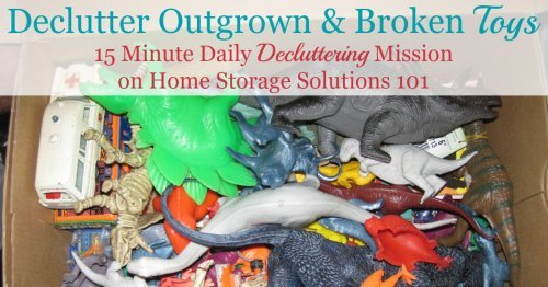 How to declutter toys from your home, starting with the easiest categories first, which are the broken and outgrown ones {part of the #Declutter365 missions on Home Storage Solutions 101}