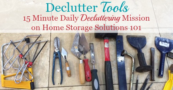 Tips for decluttering tools from your tool box and around your house to get rid of the excess, but to keep the ones that really matter {on Home Storage Solutions 101}}