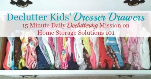 How to declutter kids' dresser drawers and folded clothing {Declutter 365 mission on Home Storage Solutions 101}