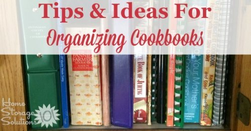 Tips and ideas for #organizing cookbooks, showing real life examples from people's homes and kitchens {on Home Storage Solutions 101}