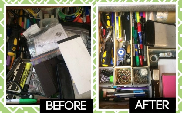 Before and after of junk drawer decluttering project from Maggy, who did the #Declutter365 mission on Home Storage Solutions 101.