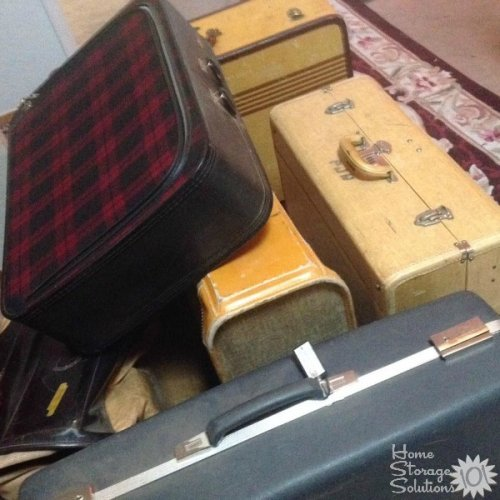Emily decluttered her old vintage suitcases, and donated them to a theater department. What a great idea! {featured on Home Storage Solutions 101}
