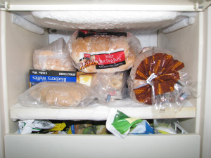 Top shelf of bar freezer