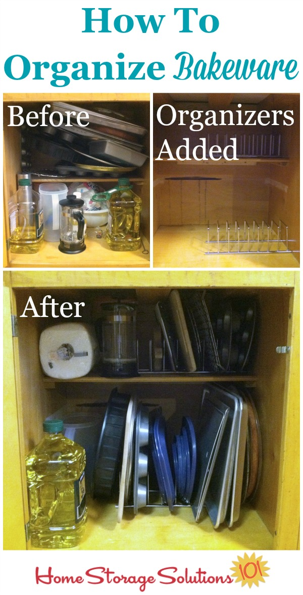 How to organize bakeware in your kitchen cabinet using a simple bakeware organizer {featured on Home Storage Solutions 101}