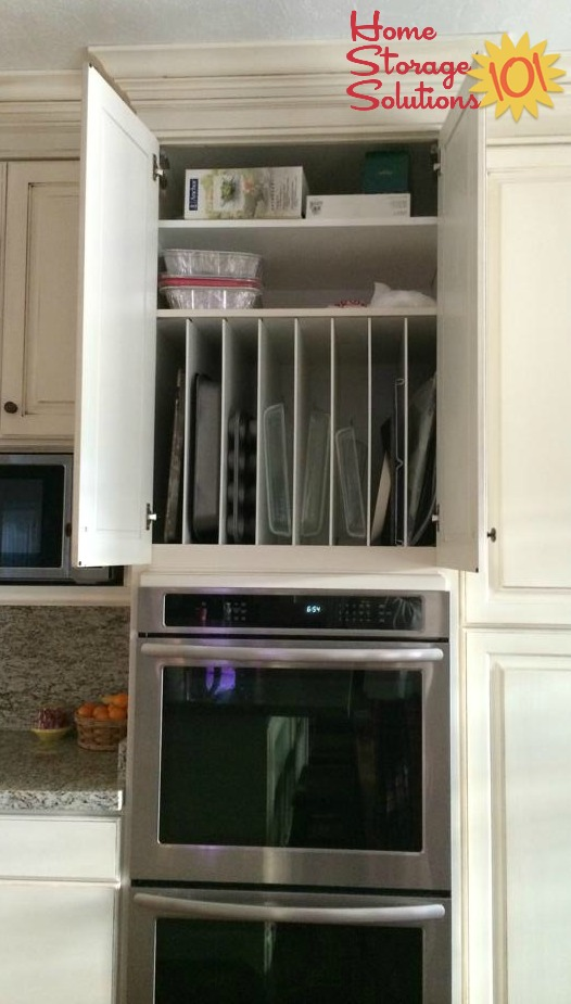 Built In Kitchen Cabinet Dividers For Organizing Bakeware {featured On Home  Storage Solutions 101}