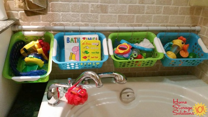 Bath Toy Storage Made Easy With A Tension Rod Baskets And Hooks Featured