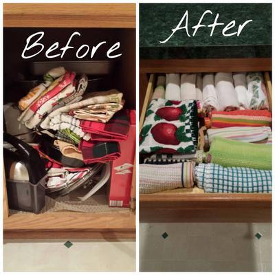 Declutter Kitchen Towels Dish Cloths