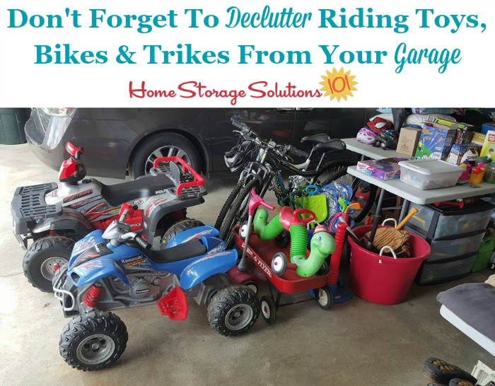 Don't forget when decluttering bicycles and tricycles from your garage to also include other riding toys as well {a #Declutter365 mission on Home Storage Solutions 101}