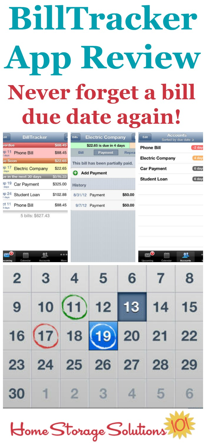 Review of the Billtracker app for iPhone which allows you to track your bills due dates so you can always know what bills to pay next and their due dates, to help you with your finances {on Home Storage Solutions 101}