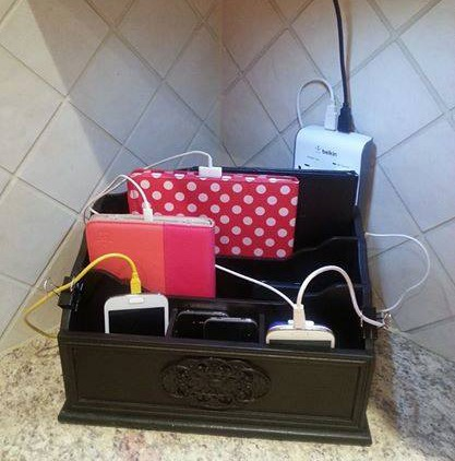 Cell phone and tablet charging station my web value Charger cord organizer diy