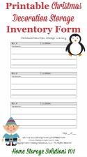 Printable Christmas Storage Inventory Form