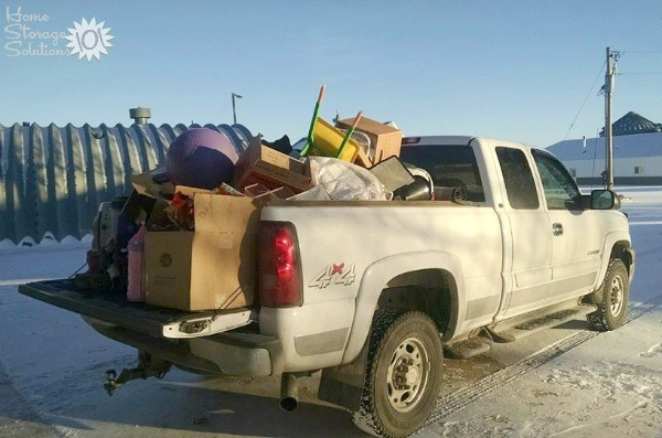Misty did the #Declutter365 mission to clean out her crawlspace, and here's all that she and her husband hauled away and out of their home! {featured on Home Storage Solutions 101}