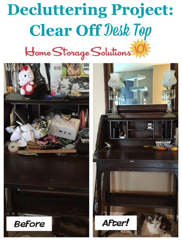 Results of a decluttering project to clear off desk top {featured on Home Storage Solutions 101}