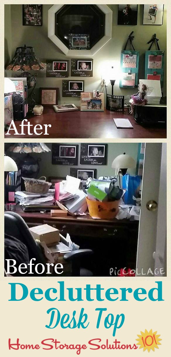 Before and after results when Lori decluttered her desk top {on Home Storage Solutions 101}