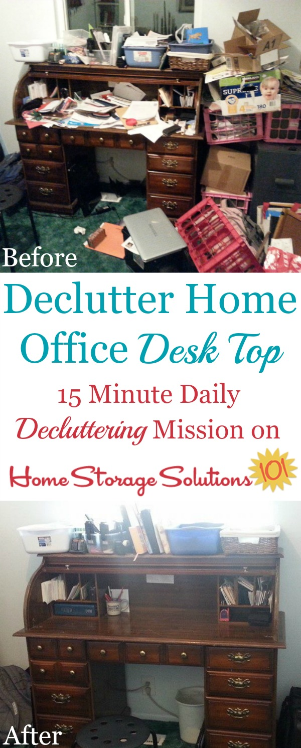 How to declutter and clean your desk top off in your home office, plus how to build habits that will keep it that way from now on {on Home Storage Solutions 101}