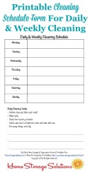 Cleaning Schedule Form