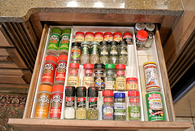 Spice drawer organized - after
