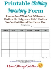 Clothing Inventory