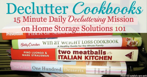 How to #declutter cookbooks and cooking magazines, with criteria to consider when deciding which books to keep and which to save {part of the #Declutter365 missions on Home Storage Solutions 101}