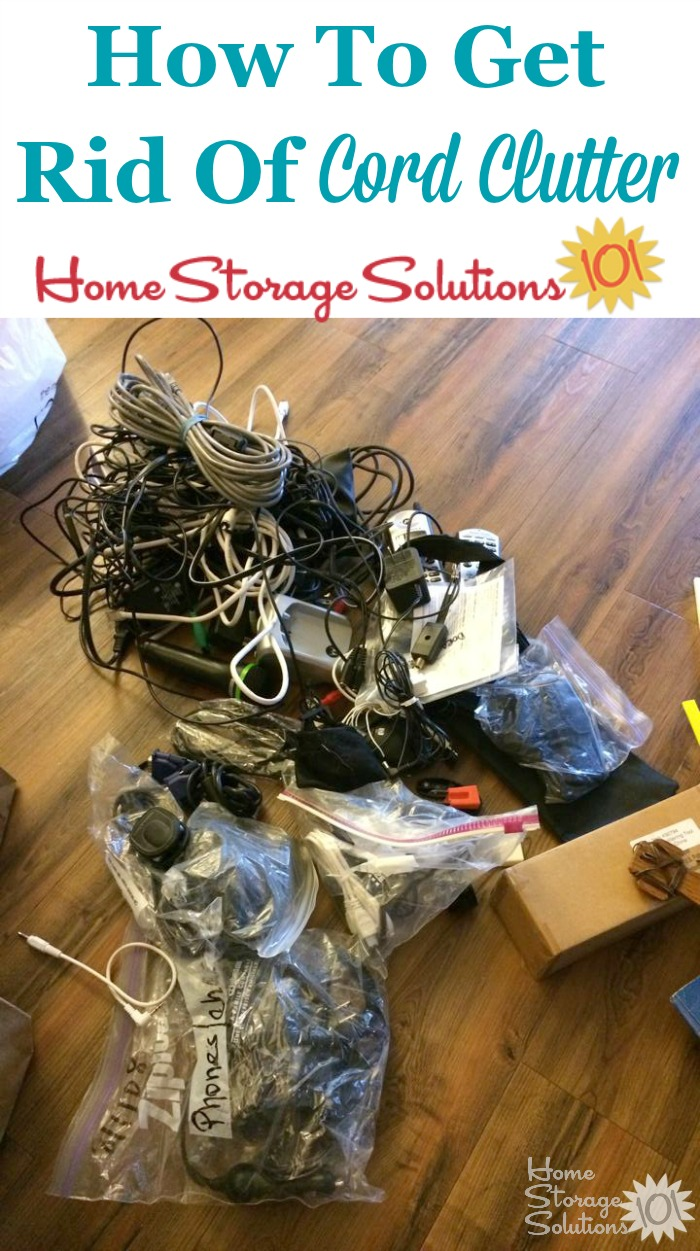 How to get rid of cord clutter in your home, including tips for proper disposal of these cables, chargers and cords {on Home Storage Solutions 101}