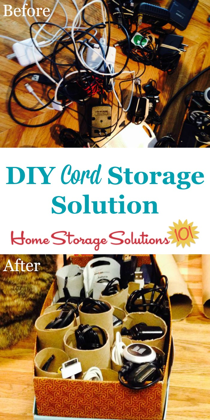 Diy Cord Storage Solution Using Paper S And A Shoe Box To Keep Your Cords