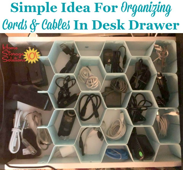Use A Honeycomb Drawer Organizer To Help You Organize And Separate Cables Cords In Your