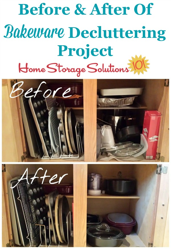 Before and after of bakeware decluttering project on Home Storage Solutions 101, as part of the #Declutter365 missions