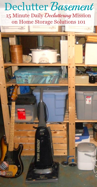 How to declutter your basement with step by step instructions to make it less overwhelming, and also so you don't make a huger mess in the process {on Home Storage Solutions 101}