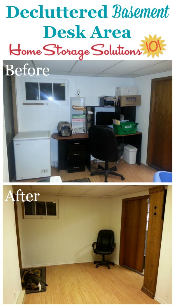 Before and after when decluttered basement desk area {featured on Home Storage Solutions 101}